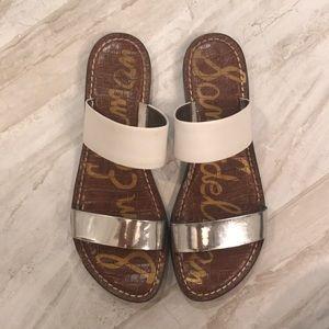 Sam Edelman leather White and Metallic sandals